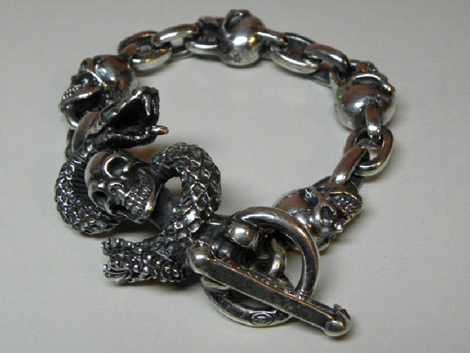 画像3: Skull On Snake With 4Skulls & Chain Links Bracelet