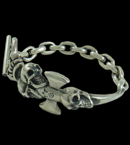 画像1: Triple Skull Dagger On Crown With Chain Links Bracelet