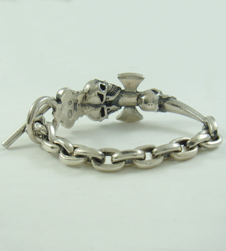 画像4: Triple Skull Dagger On Crown With Chain Links Bracelet