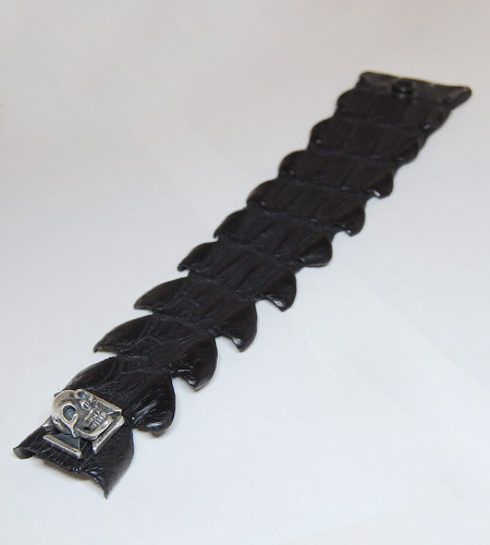 画像3: Skull On Iron Cross W-Spine Crocodile Tail Bracelet