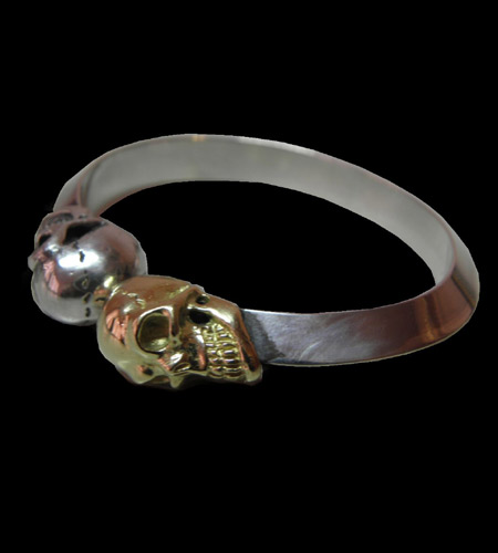 画像1: 18k Gold & Silver Skull Triangle Wire Bangle