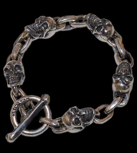 画像1: Skull & Chain Link Bracelet