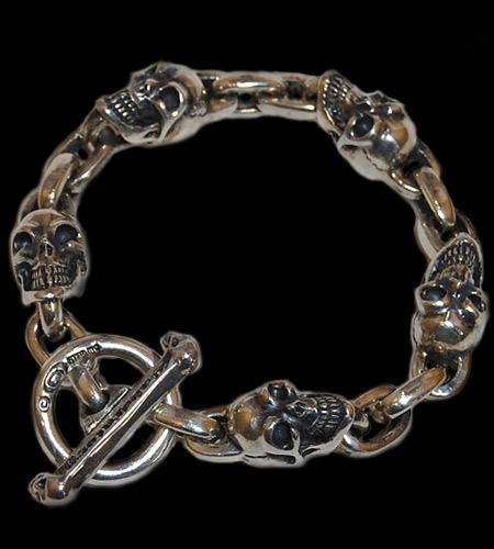 画像1: Slant Head Skull & Chain Link Bracelet