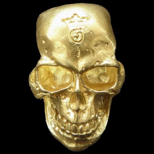 画像1: 10K Gold Large Skull H,W,O Ring ( Pure Gold Color Finish)