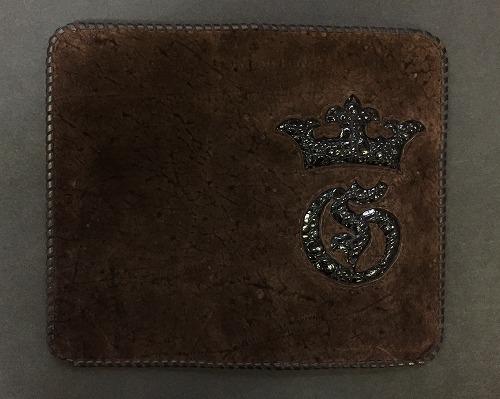 画像1: Brown Hippo Black Frog & Crown Inlay Check Book
