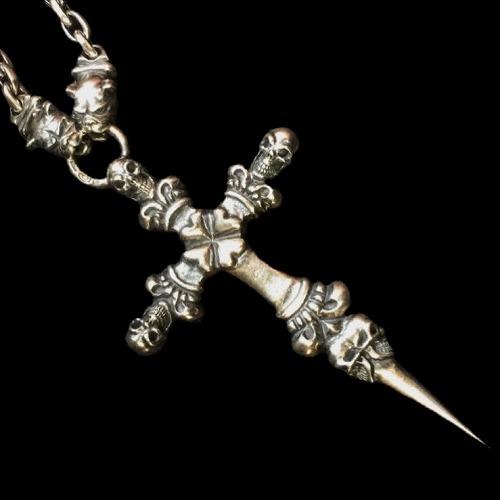 画像1: 3 Skulls On Both Side 4 Heart Crown Cross Double Face Dagger & Bulldogs Small Oval Chain Links Necklace