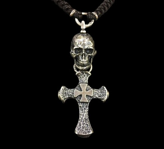 画像1: Half Large Skull With Hammer Cross & Braid Leather Necklace