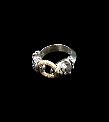画像1: Pave Dia On 18K Gold Ring With 1/9 Old Bulldog Ring