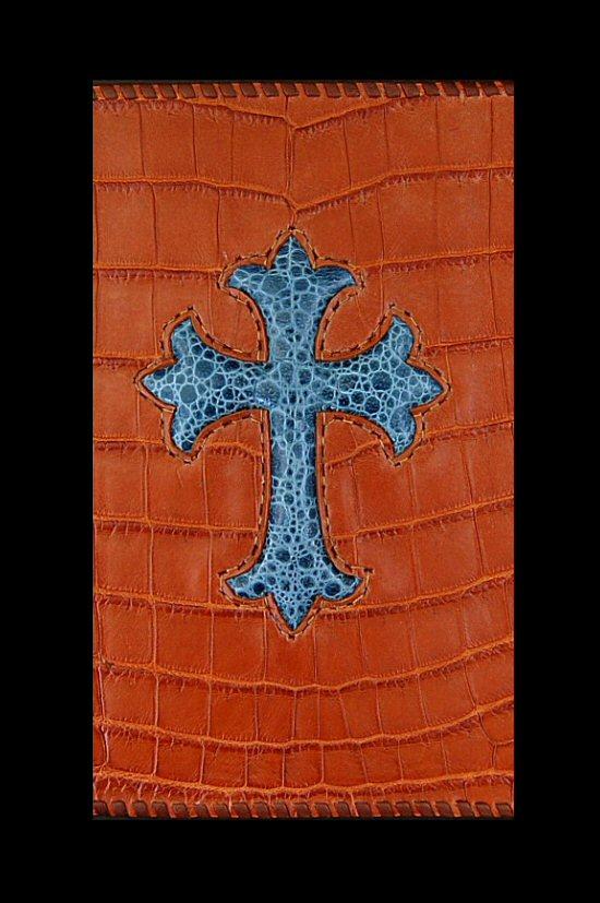 画像2: Frog Cross Inlay Crocodile(Belly) Long Wallet
