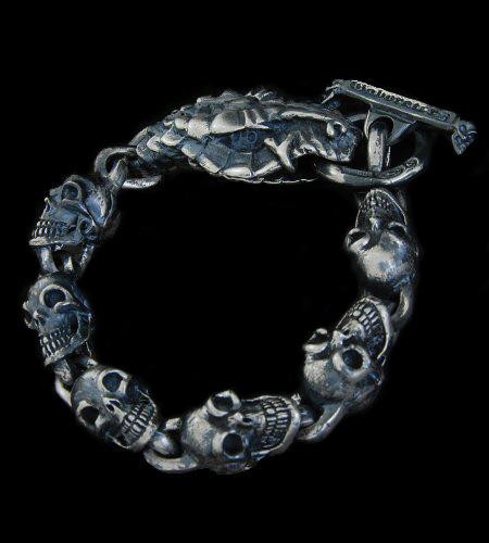 画像1: Snake Head With Skulls Links Bracelet