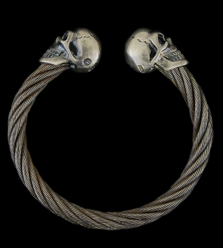 画像1: Skull Cable Wire Bangle