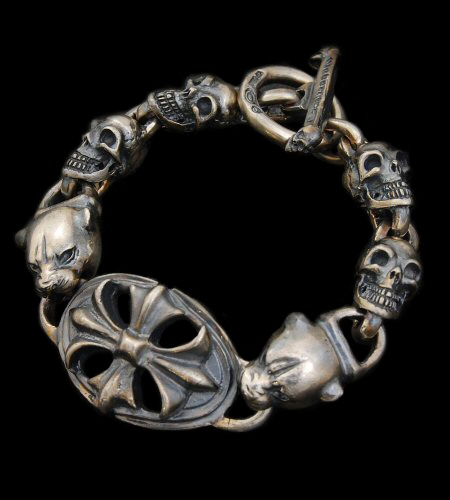 画像1: Cross Oval Id With 2Panther & 4Skulls Links Bracelet