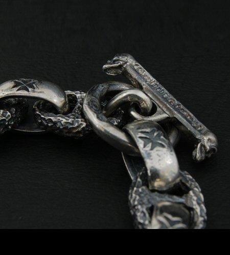 画像4: Skull On Cross Oval Id  With H.W.O & Chiseled Anchor Links Bracelet
