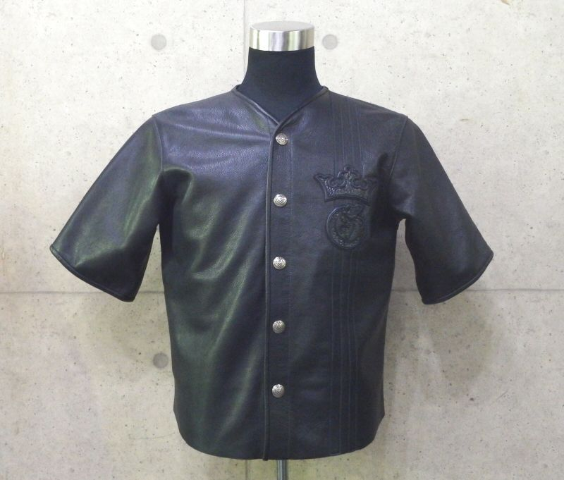画像1: Gaboratory Tribal Base Ball Leather Shirt