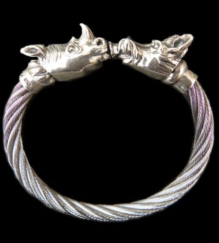 画像1: Rhinoceros & Boar Cable Wire Bangle