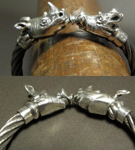 画像2: Rhinoceros & Boar Cable Wire Bangle