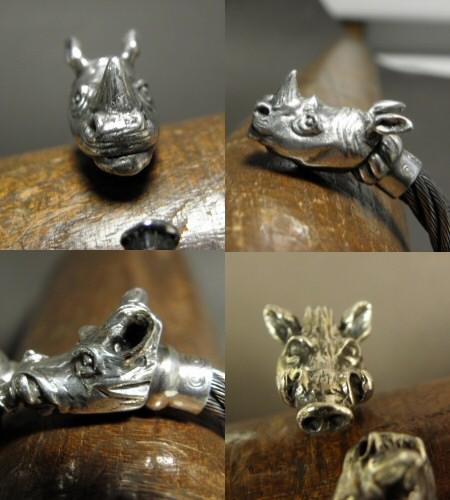 画像3: Rhinoceros & Boar Cable Wire Bangle