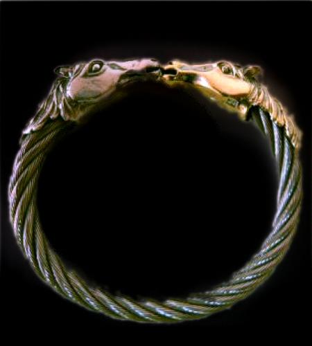 画像1: 18k Gold & Silver Horse Cable Wire Bangle