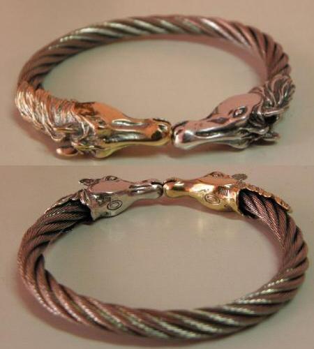 画像5: 18k Gold & Silver Horse Cable Wire Bangle