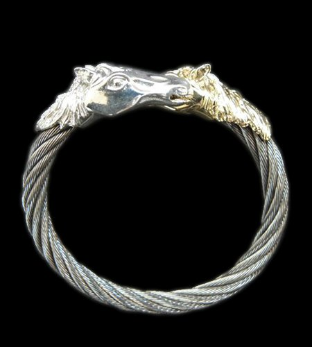画像1: Gold & Silver Horse With Teeth Cable Wire Bangle