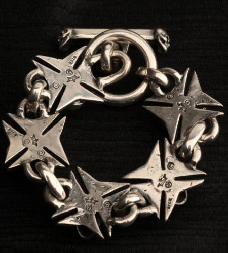 画像2: Skull On Maltese Cross Links Bracelet