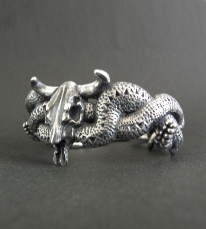 画像2: Large Buffalo Skull & Large Snake Bracelet