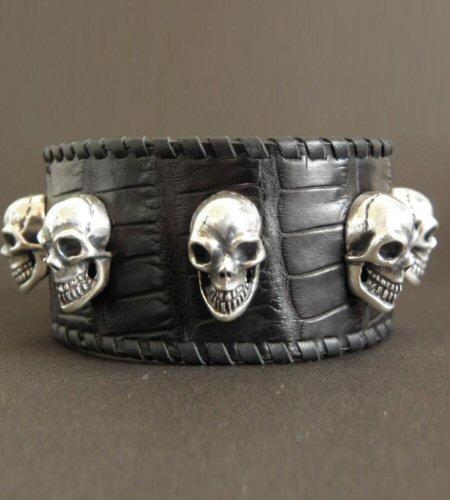 画像4: 8Skull Crocodile Leather Wrist band