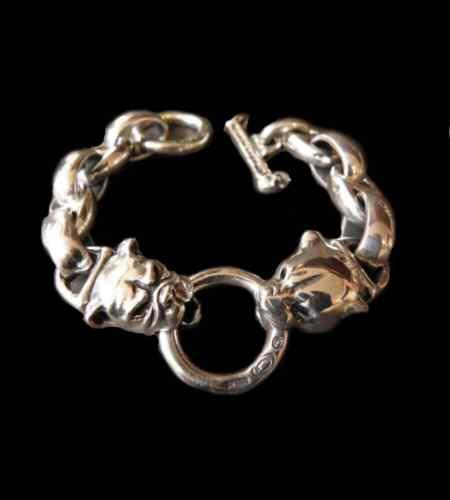 画像1: Panther & Bulldog With Smooth H.W.O & Anchor Links Bracelet
