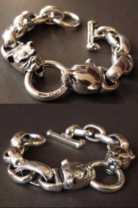 画像2: Panther & Bulldog With Smooth H.W.O & Anchor Links Bracelet