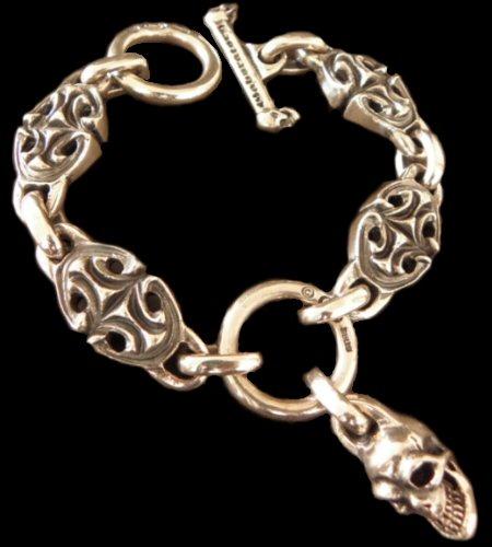 画像1: All Sculpted Oval Links & Skull Drops Bracelet