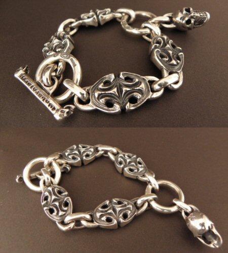 画像3: All Sculpted Oval Links & Skull Drops Bracelet