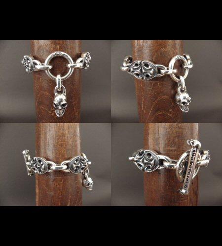 画像4: All Sculpted Oval Links & Skull Drops Bracelet