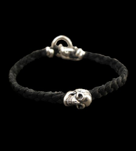 画像1: Quarter Skull On braid leather bracelet