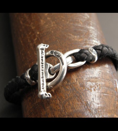 画像3: Quarter Skull On braid leather bracelet