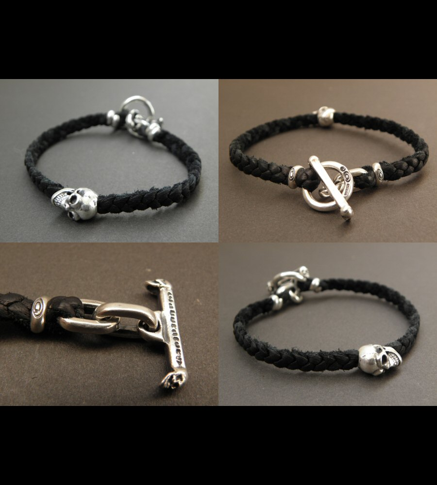 画像4: Quarter Skull On braid leather bracelet