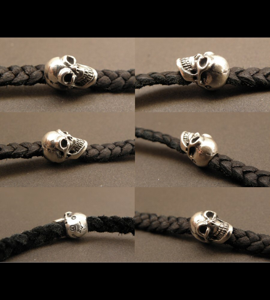 画像5: Quarter Skull On braid leather bracelet
