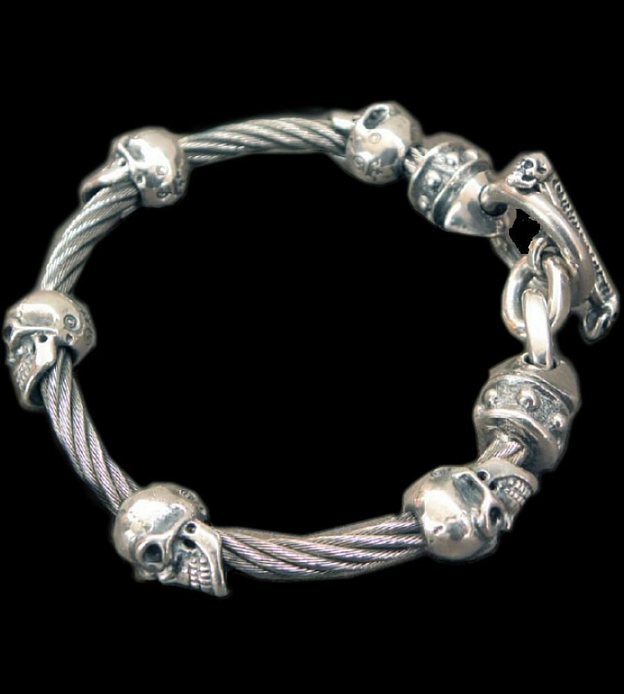 画像1: Quarter 5Skulls with stud bolo neck cable wire bracelet