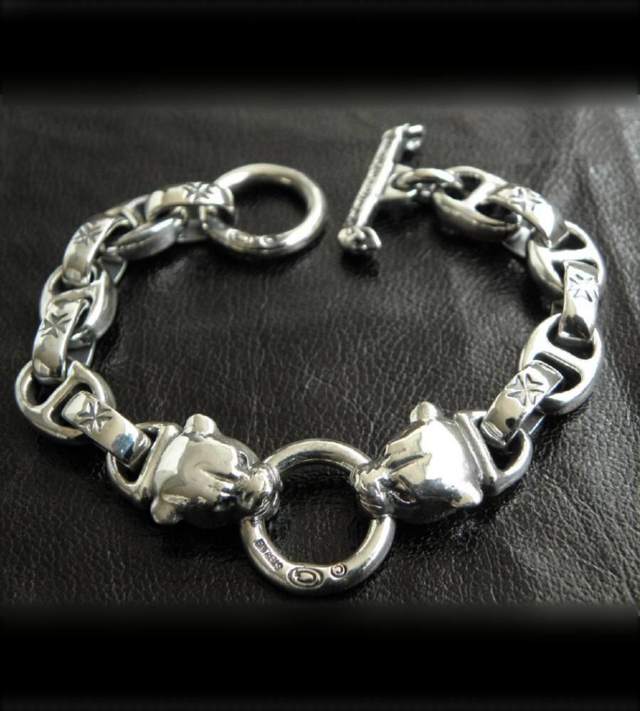 画像3: Quarter 2 panther with maltese cross H.W.O & smooth anchor chain bracelet