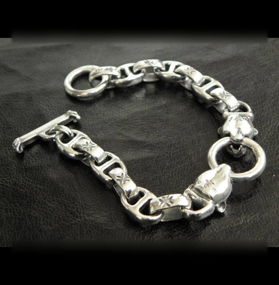 画像2: Quarter 2 panther with maltese cross H.W.O & smooth anchor chain bracelet