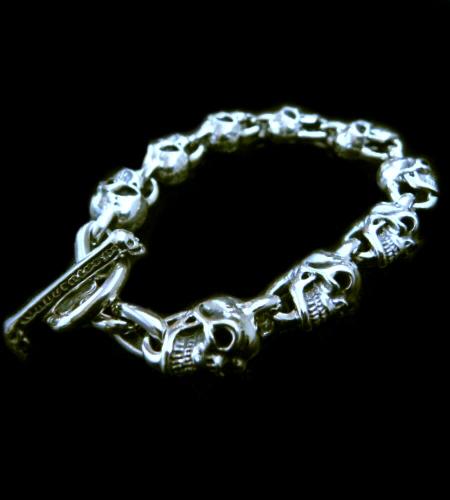 画像1: Half 9Skull Links Bracelet