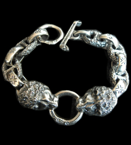 画像1: 2Lions With H.W.O & Chiseled Anchor Links Bracelet