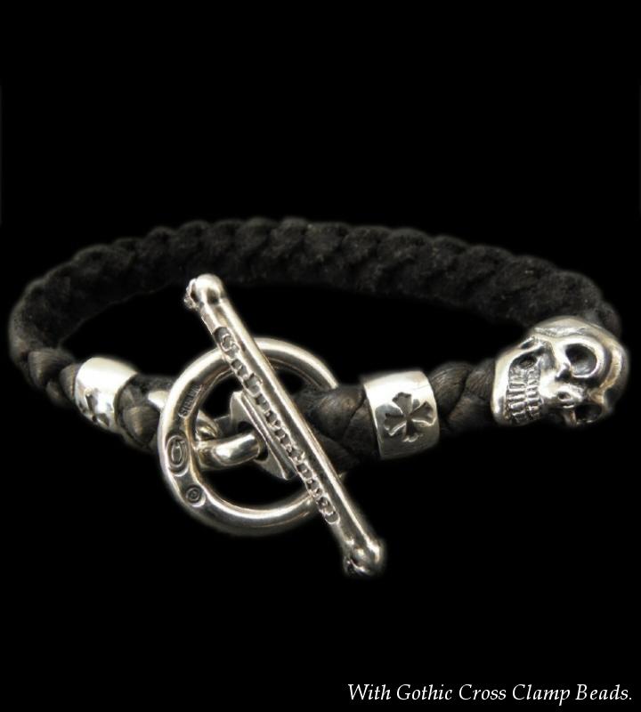 画像1: Skull On Braid Leather Bracelet With Phantom T-bar