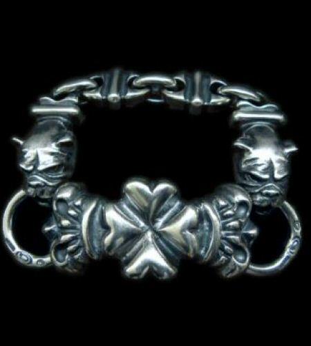 画像1: 4Heart Crown ID With 2 Long Neck Bulldogs & Boat Chain Links Bracelet
