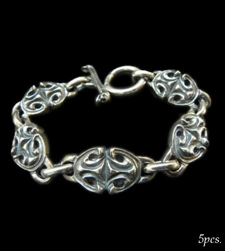 画像1: All Sculpted Oval Links Bracelet