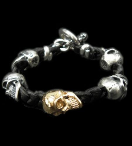 画像1: 18k Gold Single Skull In All Skull Links Braid Leather Bracelet