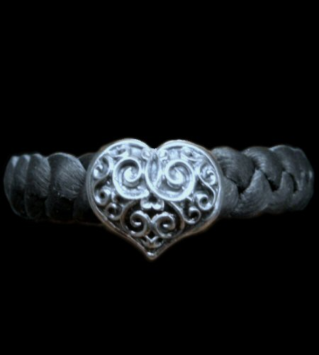 画像1: Single Heart Braid Leather Bracelet