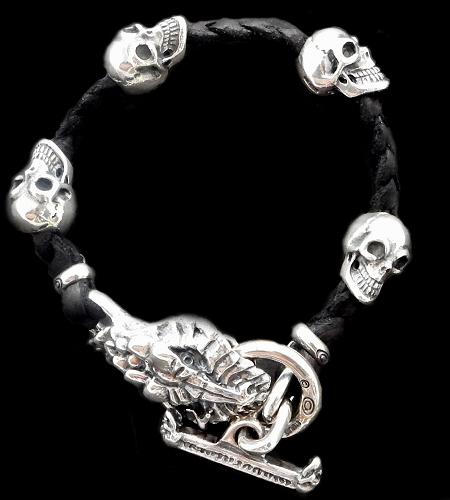 画像1: Half Snake Head With Skulls braid leather bracelet