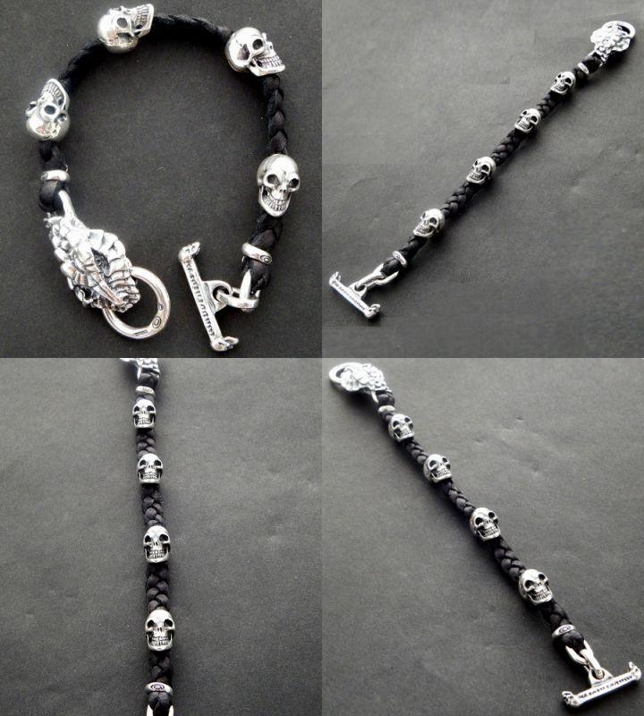 画像4: Half Snake Head With Skulls braid leather bracelet