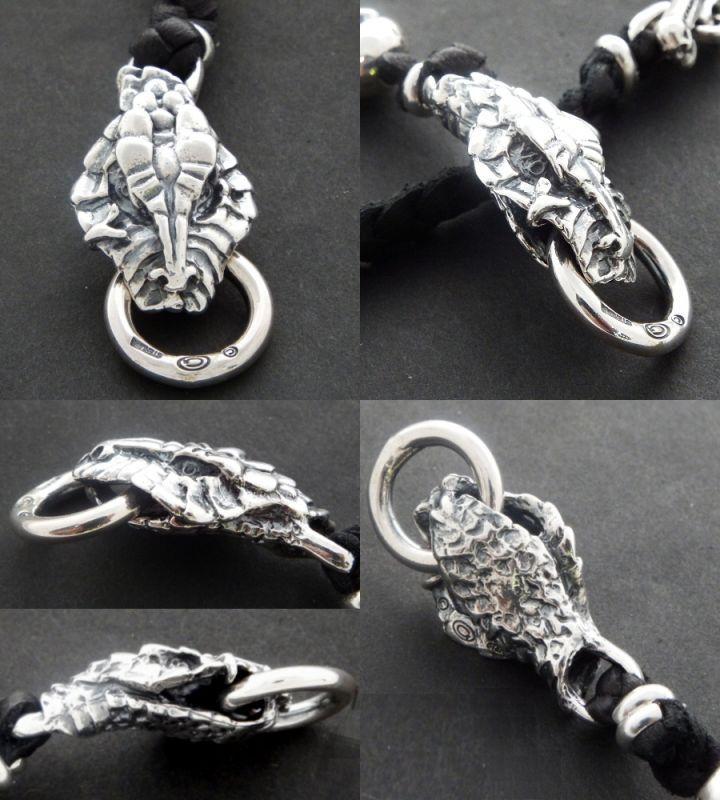 画像3: Half Snake Head With Skulls braid leather bracelet