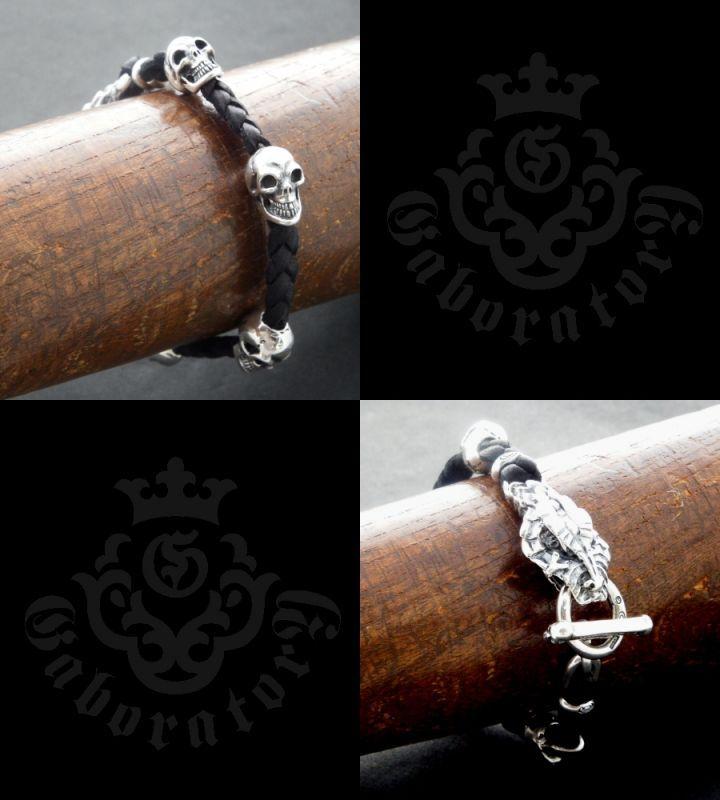 画像5: Half Snake Head With Skulls braid leather bracelet